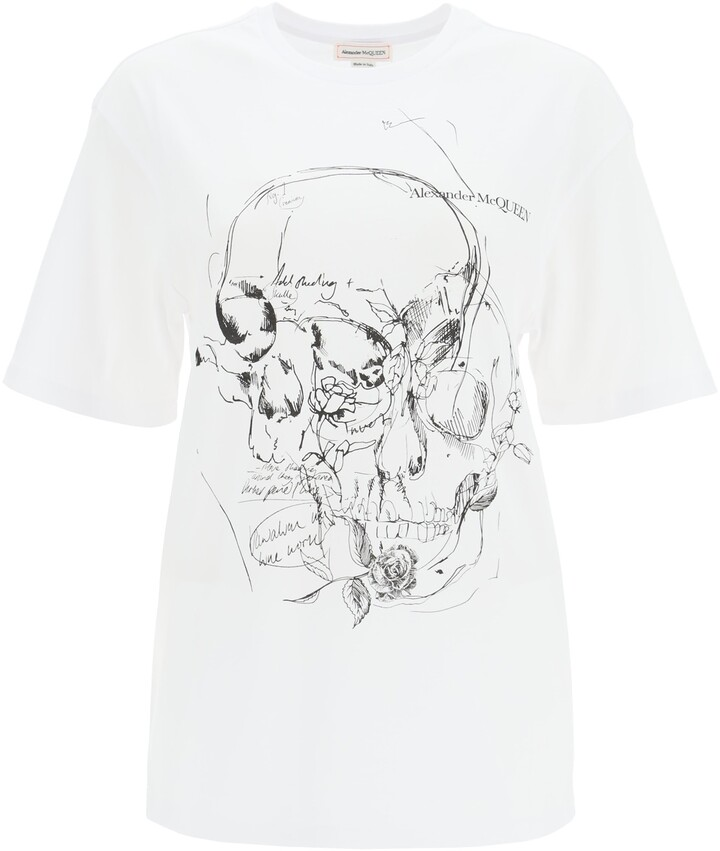 Thumbnail for your product : Alexander McQueen T-SHIRT WITH SKULL SKETCHBOOK PRINT 42 White, Black Cotton
