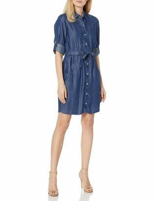 Calvin Klein Women's Long Sleeve Shirt Dress with Elastic Waist