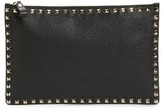 Valentino Large Rockstud Flat Leather Zip Pouch - Black