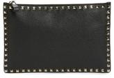 Valentino Large Rockstud Flat Leather Zip Pouch - Black