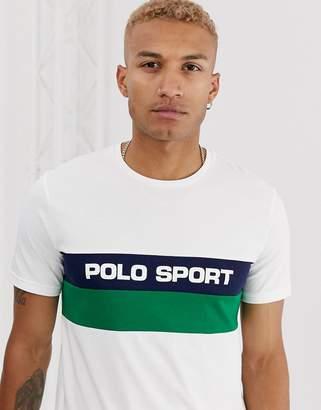 Polo Ralph Lauren Ralph Lauren Sport Capsule chest stripe logo t-shirt in white