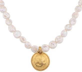 Carousel Jewels Antique Gold Coin & Baroque Pearl Necklace