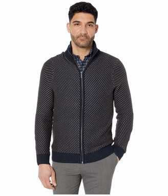 Perry Ellis Men's Chevron Stitch Full Zip Long Sleeve Sweater