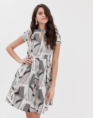 Closet London Closet mandarin collar pleated dress-Multi