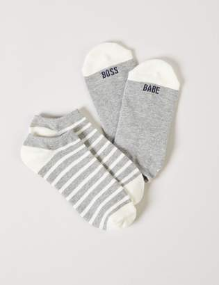 Lane Bryant Ankle Socks 2-Pack - Stripes & Boss Babe Graphic