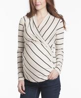 Oatmeal & Black Stripe Karen Maternity/Nursing Top