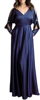 Basix II Rhinestone Embellished Split-Sleeve Satin Gown
