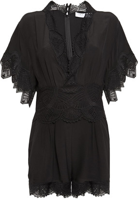 IRO Guipure Lace-trimmed Silk Crepe De Chine Playsuit