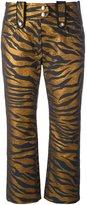 Kenzo tiger stripe cropped trousers - women - Acetate/Cotton/Polyester/Metallized Polyester - 36