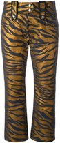 Kenzo tiger stripe cropped trousers - women - Cotton/Polyester/Acetate/Metallized Polyester - 36
