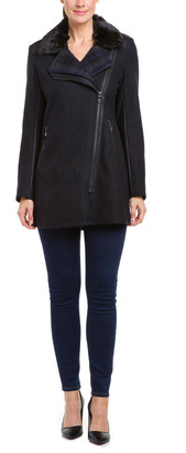 Sam Edelman Leah Charcoal Wool Blend Double Collar Moto Coat