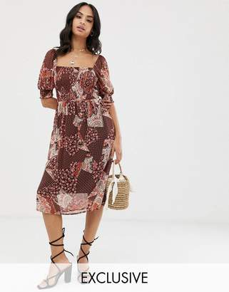 Vila square neck smock tile print midi dress-Brown