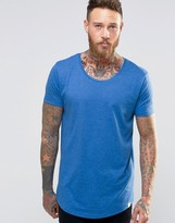 Lee Shaped Hem T-Shirt Blue Melange