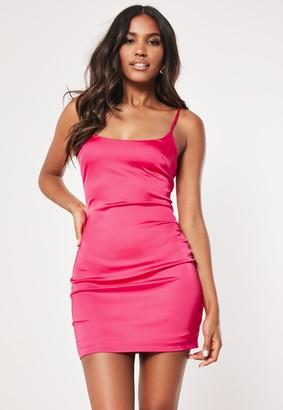Missguided Petite Hot Pink Stretch Satin Bodycon Mini Dress
