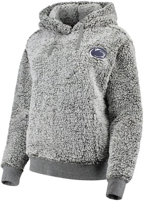 Women's Heathered Gray Penn State Nittany Lions Sherpa Inside & Out Pullover Hoodie