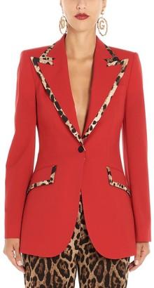 Dolce & Gabbana Leopard Print Trim Single Breasted Blazer