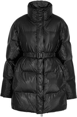Rains Black Quilted Coated-shell Coat
