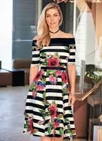 Kaleidoscope Stripe Bardot Prom Dress
