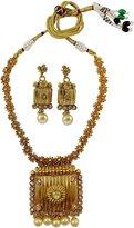 Matra Traditional Indian Gold Tone Kundan Stone 2 Pcs Bridal Women Necklace Set Jewelry