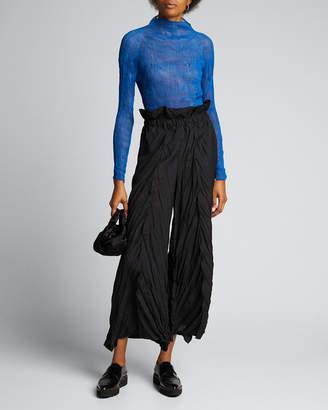 Issey Miyake Chiffon Twisted High-Neck Long-Sleeve Top, Blue