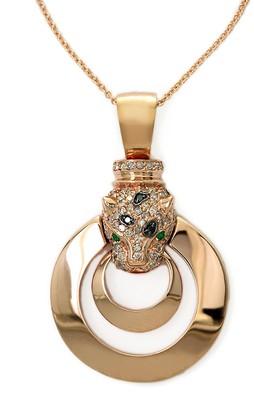 Effy 14K Rose Gold, Diamond Emerald Panther Pendant Necklace