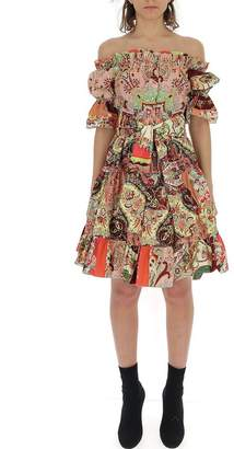 Etro Cold-Shoulder Flared Dress