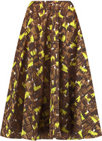 Marni Pleated printed cotton-poplin skirt