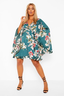 boohoo Plus Floral Ruffle Wide Sleeve Skater Dress