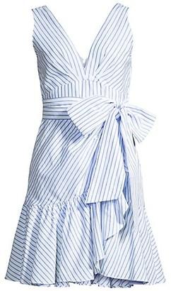 Rebecca Taylor Striped Wrap Flounce Dress