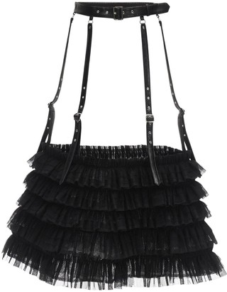 Noir Kei Ninomiya Faux Leather & Tulle Maxi Belt