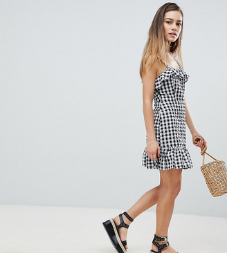 Asos DESIGN Petite Gingham mini dress-Multi