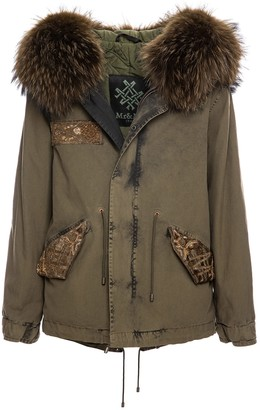 Mr & Mrs Italy Loden Army Jazzy Mini Parka With Fur
