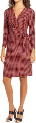 Anne Klein Pearly Dot Long Sleeve Wrap Dress