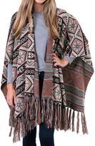 Muk Luks Women's Knit Fringe Ruana - Ivory Tribal
