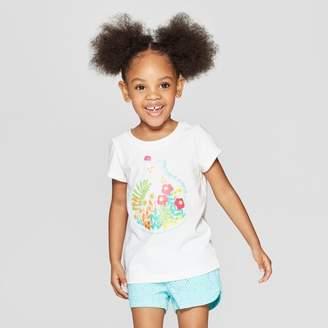 Cat & Jack Toddler Girls' Short Sleeve Graphic T-Shirt White