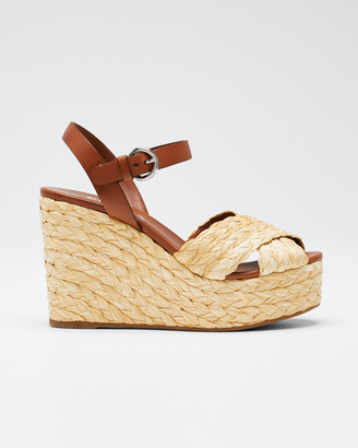 Prada Crisscross Raffia Wedge Sandals