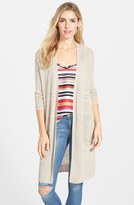 Halogen Long Linen Blend Cardigan (Regular & Petite)