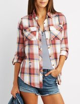 Charlotte Russe Destroyed Plaid Button-Up Shirt