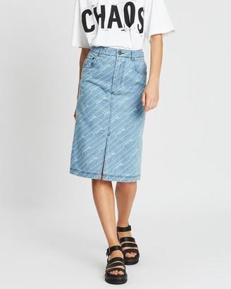 House of Holland Monogram Denim Skirt