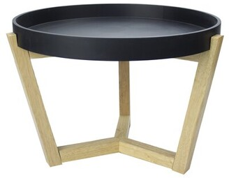 Wrought Studio Lowndesboro End Table Table Top Color: Black, Table Base Color: Natural