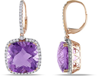 Diamond Select Cuts 14K Rose Gold 20.91 Ct. Tw. Diamond & Amethyst Earrings