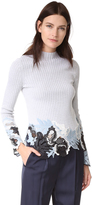 3.1 Phillip Lim Long Sleeve Embroidered Lace Ribbed Pullover