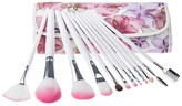Bliss & Grace Professional 12-Piece Floral Makeup Brush Set with Vegan Leather Travel Case - Pink/Floral