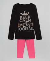 Beary Basics Black & Hot Pink 'Play Football' Tee & Leggings - Toddler & Girls