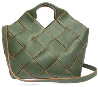 Loewe Anagram Woven-leather Tote Bag - Womens - Khaki