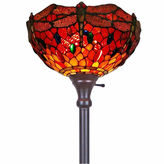 AMORA Amora Lighting AM040FL14 Tiffany Style Dragonfly Torchiere Floor Lamp 72 In