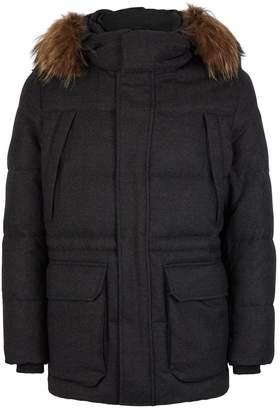 Corneliani Wool Down Fur-Trim Coat