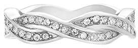 Swarovski Angelique de Paris Women's Rings White - Stainless Steel Pave Twisted Band With Crystals