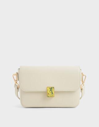 Charles & Keith Leather Embellished Push-Lock Crossbody Bag