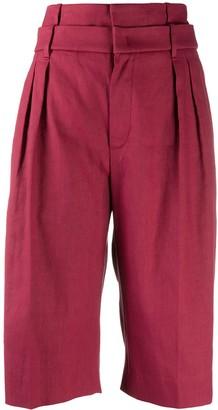 Brunello Cucinelli High-Rise Wide-Leg Bermuda Shorts